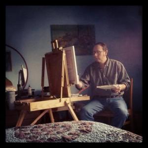 Painting Linda's portrait.