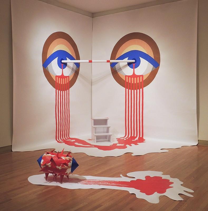 American Eye Pull-Up Bar, 2016 acrylic on paper installation, Ukrainian Institute of Modern Art, Chicago