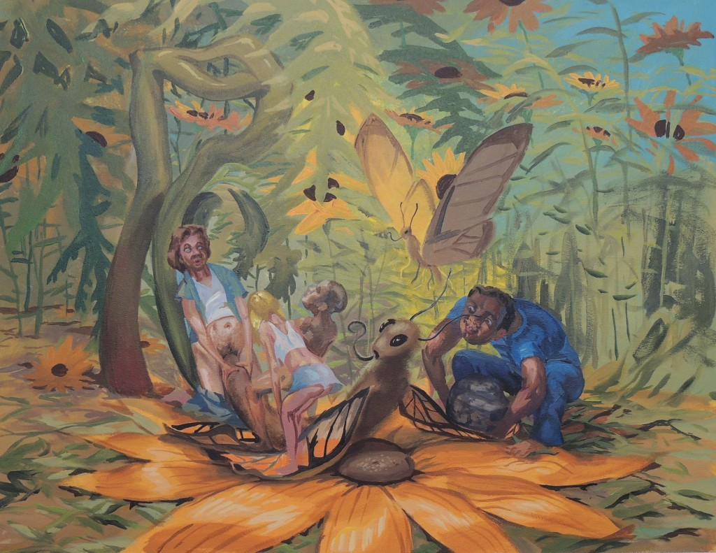 """Gang Raping a Butterfly, 2011 acrylic on canvas 30 x 40"""""""