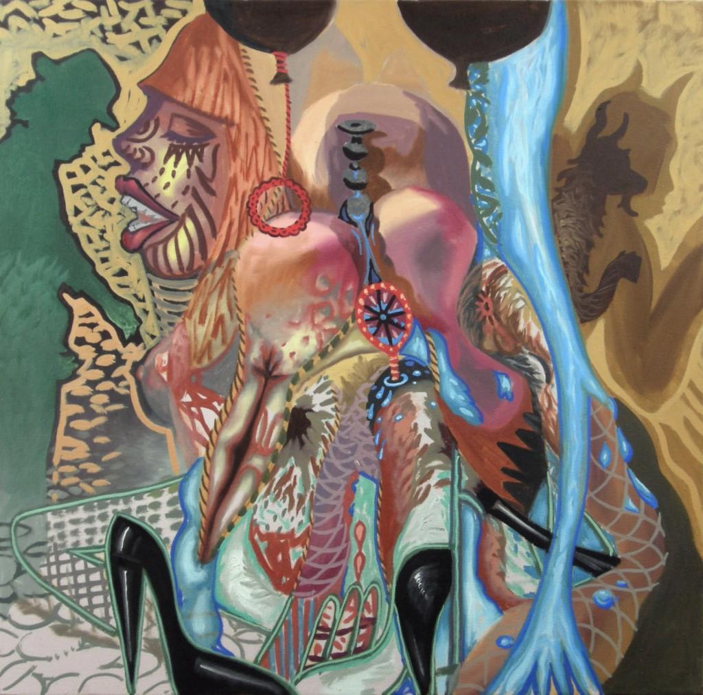 "Temptation Makes You Hot, 2011 acrylic on canvas 24 x 24"""