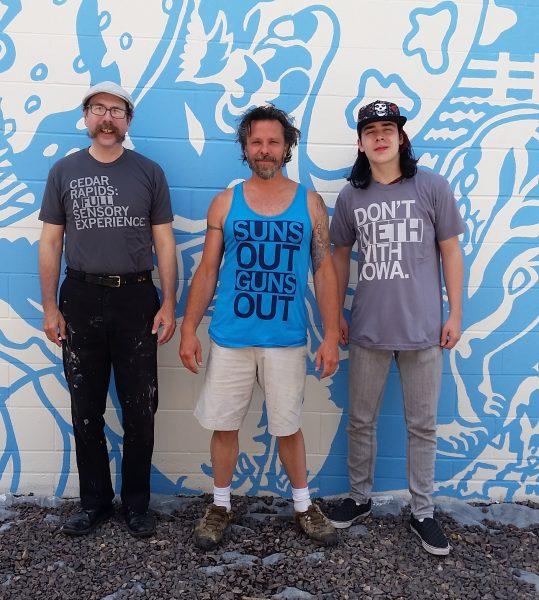 "Tom, Billy Pozzo & Neil at ""Currents"" mural site Legion Arts, Cedar Rapids, IA"