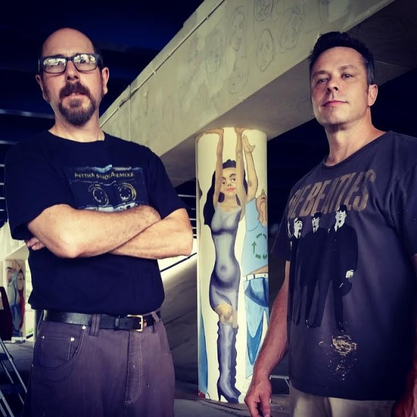 Tom & Billy Pozzo while working on Pillar of Society, Indianapolis, 2015