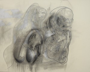 """Aging Graceless, 2013 charcoal & graphite on board 32 x 40"""""""