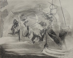 """Sweeping Up the Mess, 2013 charcoal & graphite on board 32 x 40"""""""
