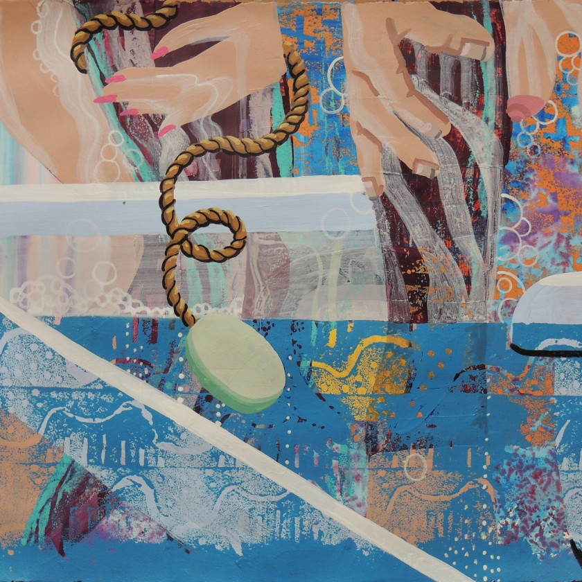 """Soap On A Rope, 2014 acrylic on paper 22 1/2 x 30"""""""