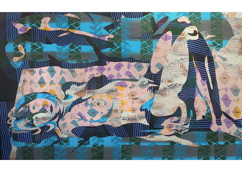 "Lying Linda, 2017 inlaid paper collage 36 3/4 x 59"""