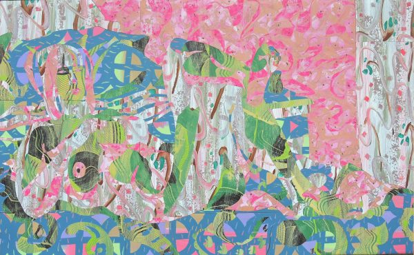 """After The Battle, 2017 acrylic on paper, inlaid collage 38 x 59"""""""